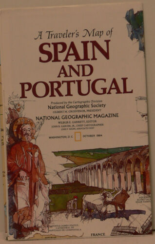 Vintage 1984 National Geographic Map of Spain and Portugal