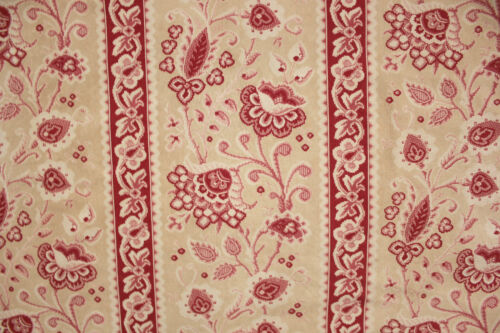 Antique French French Embroidered look fabric LOVELY red pink muted tones cotton