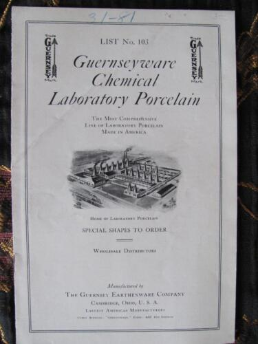 Guernseyware Earthenware Chemical Laboratory Porcelain Catalog CAMBRIDGE OHIO