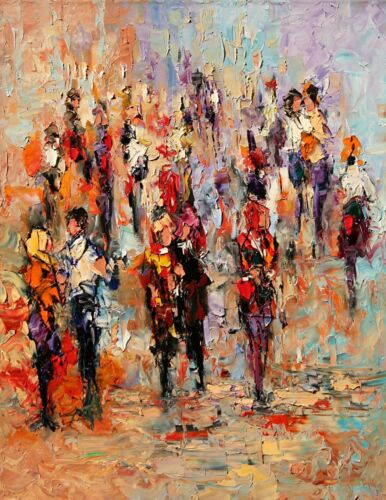 Cityscape People SIDEWALK MOVIE CROWD limited edition Art PRINT Andre Dluhos