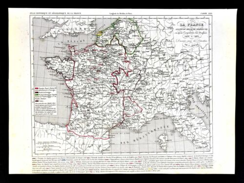 1849 Houze Map - France Explusion of the English 1422-1461 Paris Flanders Calais