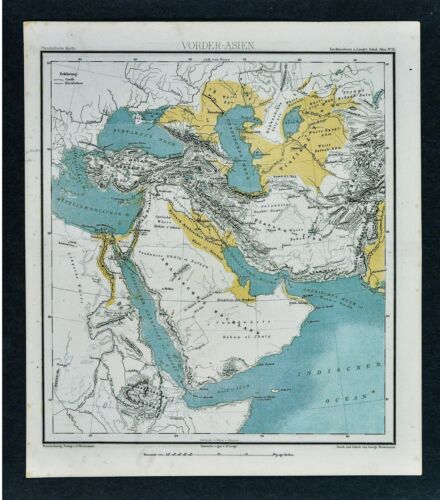 1875 Lange Map - Physical Middle East Arabia Turkey Iran Iraq Aghanistan Mecca