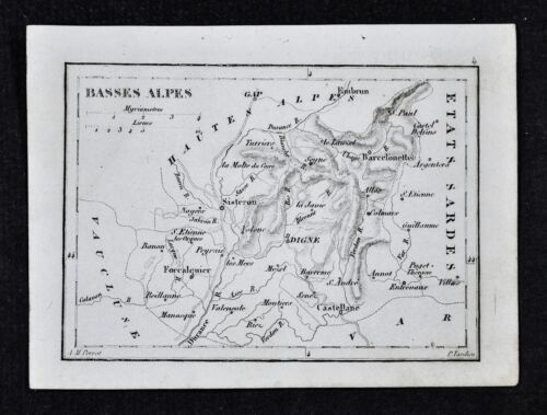 1833 Perrot Map - Basses Alpes - Digne St. Etienne Sisteron St. Paul Alos France