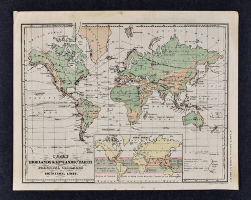 1882 McNally Physical World Map Mountains Volcano Isothermal Climate Wind Chart