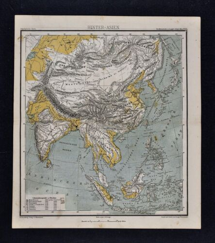 1875 Lange Physical Map - Asia - China Japan Korea India Afghanistan Tibet Nepal