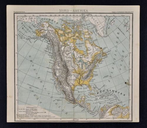 1875 Lange Physical Map - North America - United States Canada Mexico Alaska