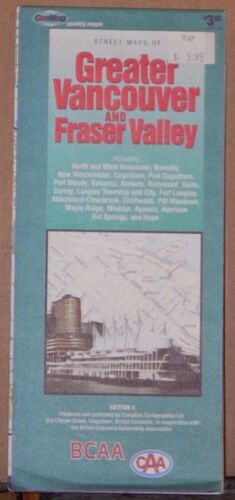 1996 BCAA Street Map of Greater Vancouver & Fraser Valley British Columbia