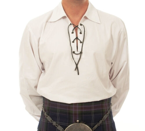 """SALE OFFER"" MED WHITE DELUXE SCOTTISH JACOBEAN LACED GHILLIE SHIRT 4 KILT SALE"