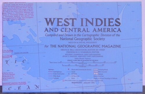 Vintage 1970 National Geographic Map of West Indies and Central America w ..