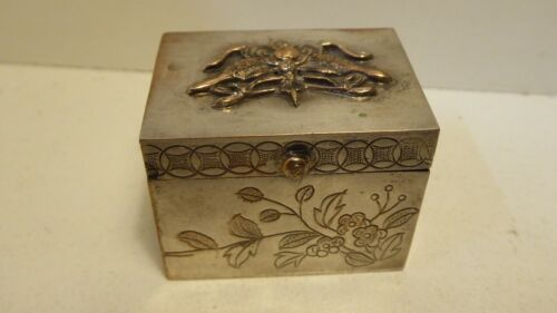 SILVER PLATED COPPER DECORATIVE CHINESE JEWELLERY BOX APPLIED DECORATION STAMPED