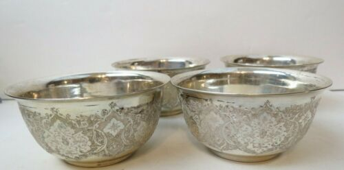 SET of 4 Ornate Vintage Persian SOLID SILVER Finger Bowls All Matching 362 grams