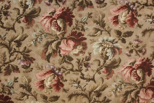 Upholstery fabric Vintage French floral cotton heavy c1900 floral Belle Epoque