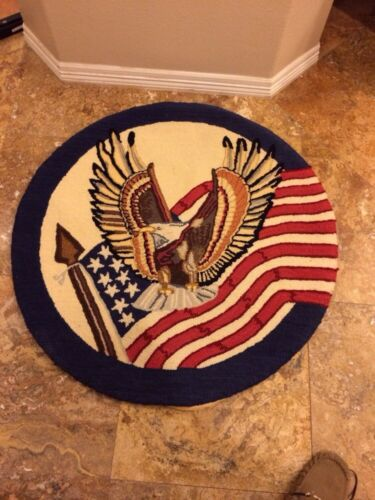 """Antique Patriotic Wool Handmade Round Rug 36""""w Excellent Cond For Age"""