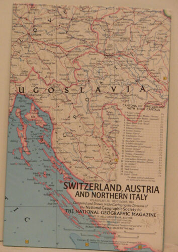 Vintage 1965 National Geographic Map of Switzerland and Austria and Northern