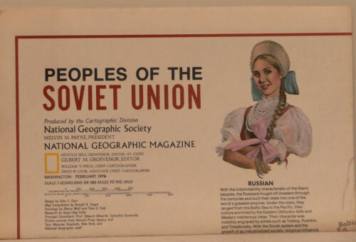 Vintage 1976 National Geographic Map of The Soviet Union w/Historical Notes