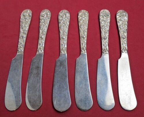 Set 6 Baltimore Rose by Schofield Sterling Butter Spreader FH Design Both Sides