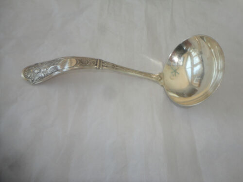"SHIEBLER ALBERT COLES STERLING CUPID PATTERN GRAVY LADLE, 7"" LONG, MONOGRAM ""S"""