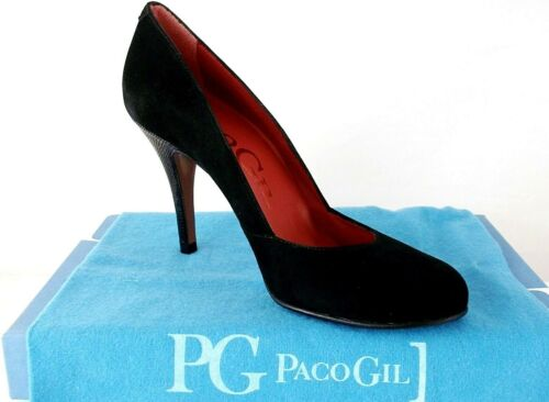 PACO GIL LADIES BLACK LEATHER SUEDE HEELS COURT SHOES WOMANS UK 3 - EUR 36.