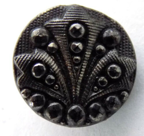 11 Small Black Glass Victorian Waistcoat Buttons Feather & Bead Design