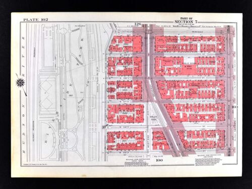 1955 Bromley New York City Map Upper West Side Riverside Central Park 100-109th