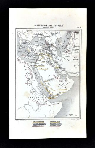 1877 Vuillemin Map Dispersion of Old Testament People Genesis Middle East Canaan
