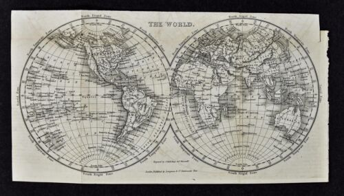 c 1824 Hall Map - World in Hemispheres - Europe Asia Africa North South America