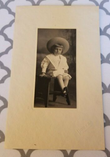 Vtg Photo Young Boy Victorian Frock Large Straw Hat Powers Studio Minneapolis MN