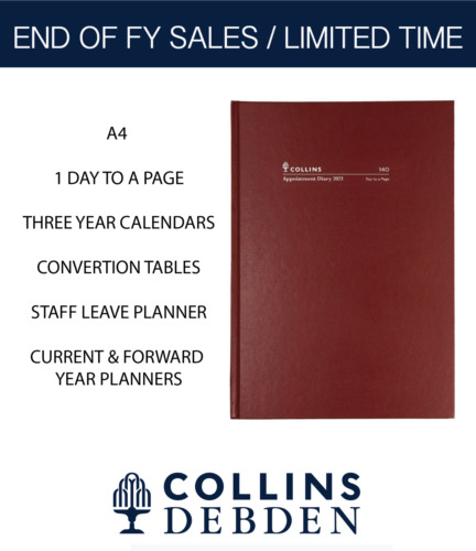 2021 Collins Appointment Diary A4 Burgundy 1 Day to a Page 140.P78-20 15mins <br/> Early 2021 Edition. Shipment In 1 Business Day from NSW