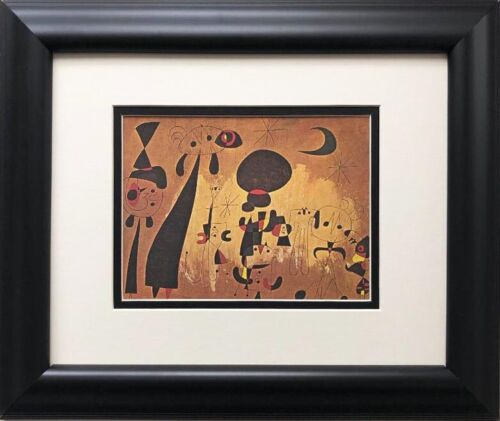 """Miro """"Composition"""" Rare Custom Framed Abstract Surrealism Art Lithograph"""