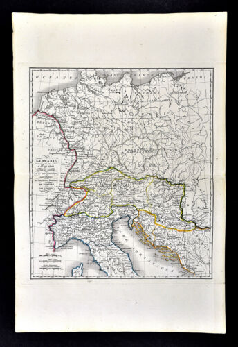 1818 D'Anville Map Ancient Germania Germany Italy Illyricum Rhetia Vindelicia