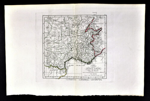 1818 D'Anville Map Ancient South France Roman Provinces in Gaule French Riviera