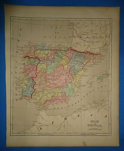 Antique 1856 Hand Colored SPAIN - PORTUGAL MAP Old Authentic Vintage Atlas Map