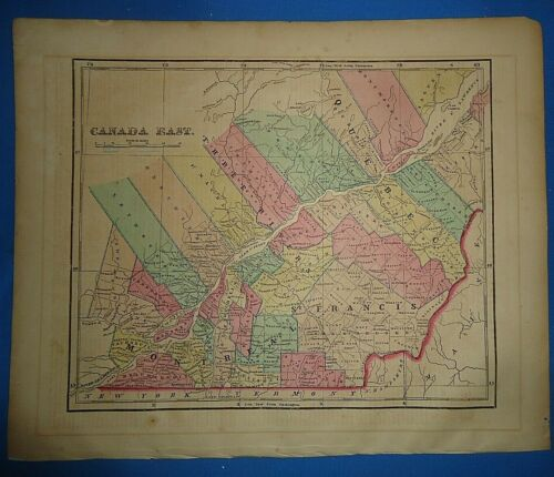 Antique 1856 Hand Colored EAST CANADA MAP Authentic Vintage Old Atlas Map