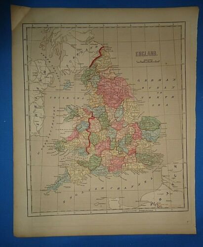 Antique 1856 Hand Colored ENGLAND MAP Old Authentic Vintage Atlas Map