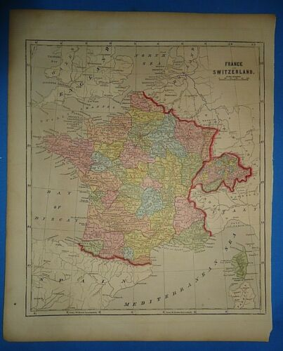 Antique 1856 Hand Colored FRANCE - SWITZERLAND MAP Old Authentic Vintage Map