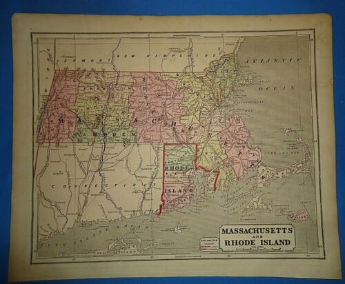 Antique 1856 Hand Colored MASSACHUSETTS RI MAP Authentic Vintage Old Atlas Map