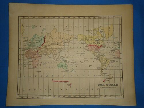 Antique 1856 Hand Colored WORLD MAP Authentic Vintage Old Atlas Map