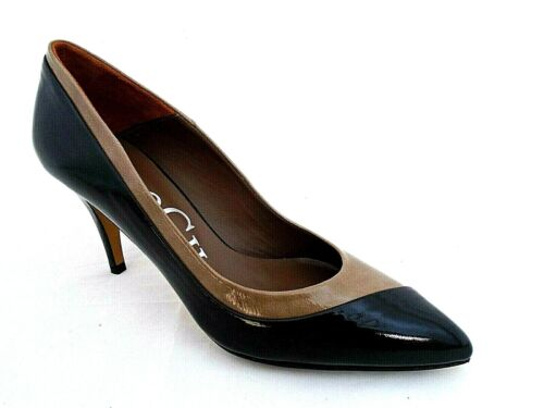 PACO GIL LADIES BLACK-TAUPE PATENT LEATHER HEELS COURT SHOES WOMANS UK 4 -EUR 37