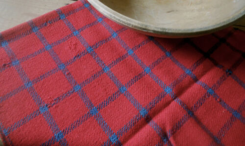 Antique Primitive Early Loom Woven Wool ~ Americana Red Soldier Blue Check Plaid