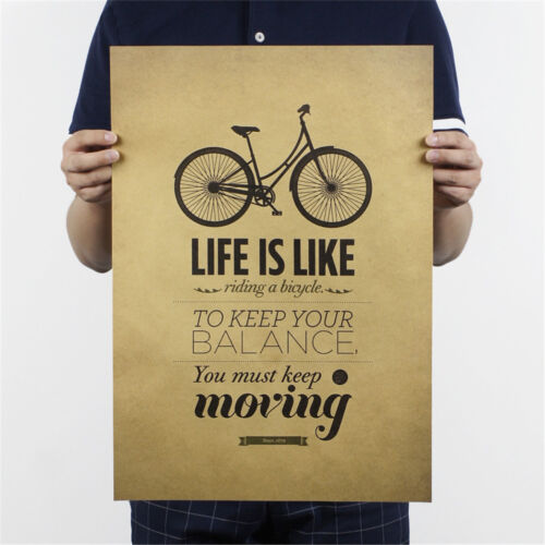 life is like riding a bicycle poster cafe bar decor  kraft paper wall stickAF