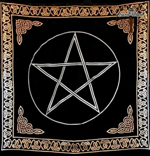 90cm Gold Bordered Pentagram Altar or Tarot Cloth Cotton Wall Hanging Table