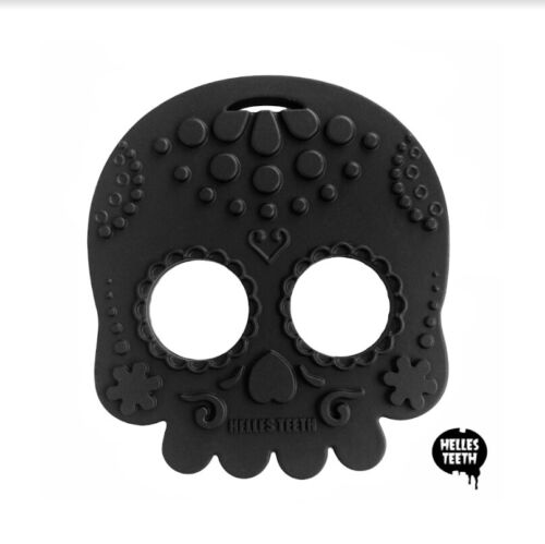 Helles Teeth - Sugar Skull Black Baby Teether  <br/> Silicone Teething Toy designed for gum and stimulation