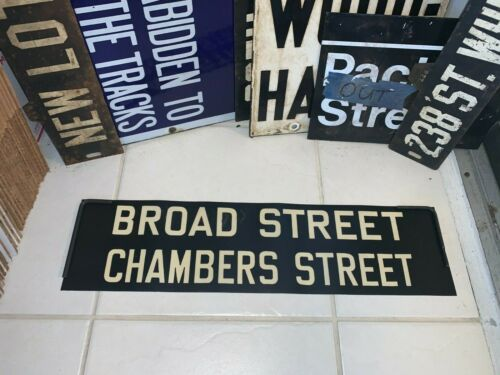 NYC NY BMT SUBWAY ROLL SIGN CHAMBERS BROAD WALL STREET NASSAU FINANCIAL DISTRICT