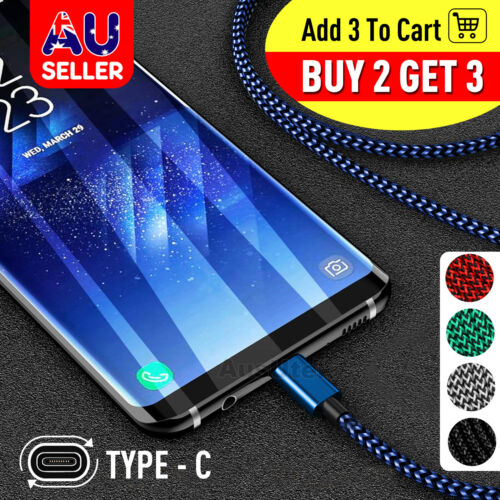 Fast Charger USB C Type-C Data Cable For Samsung S8 S9 S10 S20 Ultra Plus Note