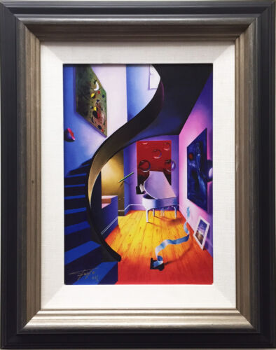 """FERJO """"The Blue Stairs"""" Newly CUSTOM FRAMED Hand Signed Numbered GICLEE CANVAS"""