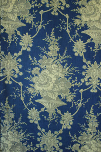 AntiqueFfabric French circa 1860 floral Prussian blue and gray cotton