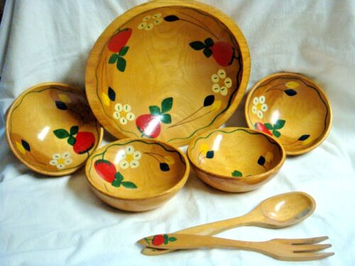 7 Pc Old & Heavy Handcrafted WOODEN SALAD SET - Strawberry & Flower Design