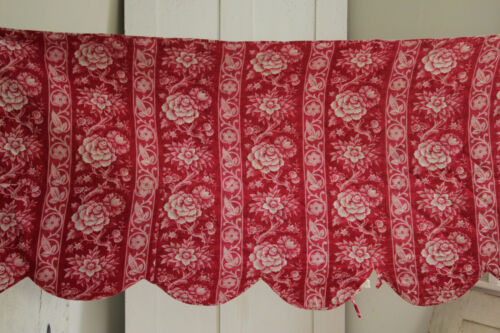 Quilted Valance Antique French 1860 hand block printed red fabric floral