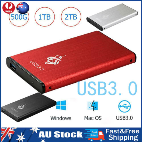 2TB 2.5in USB 3.0 External Hard Disk Drive SATA III Memory Storage Device HDD AU