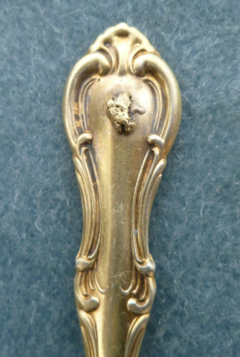 Yukon Shop Whitehorse Gold Nugget on Sterling Spoon Vintage Canada Mining
